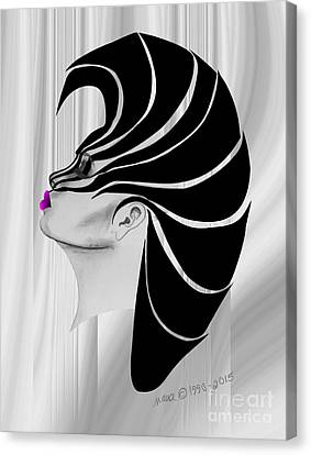 Canvas Print featuring the drawing Zebra Punk by Marianne NANA Betts