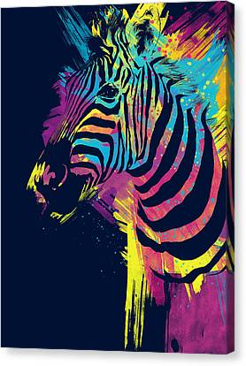 Zebra Splatters Canvas Print by Olga Shvartsur