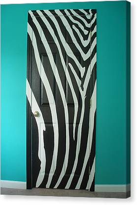 Zebra Stripe Mural - Door Number 1 Canvas Print by Sean Connolly