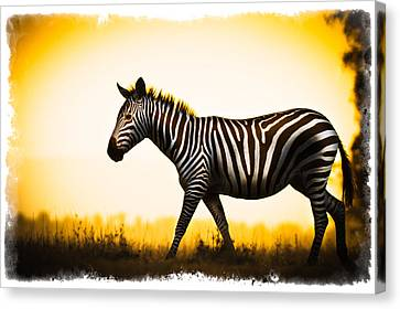 Canvas Print featuring the photograph Zebra Sunset by Mike Gaudaur