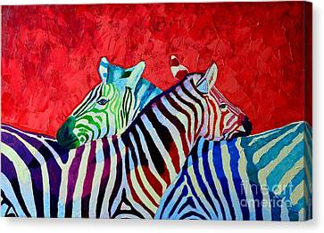 Zebras In Love  Canvas Print by Ana Maria Edulescu