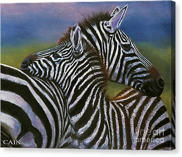 Zebras In Love Giclee Print Canvas Print by William Cain