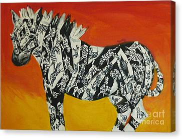 Zebras In Stripes Canvas Print by Cassandra Buckley