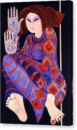 Zeinab Chasing The Devil Part 2, 1992 Acrylic On Paper See Also 279211 Canvas Print by Laila Shawa