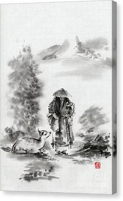 Zen Art  Buddhist Monk Mountains Landscape Canvas Print