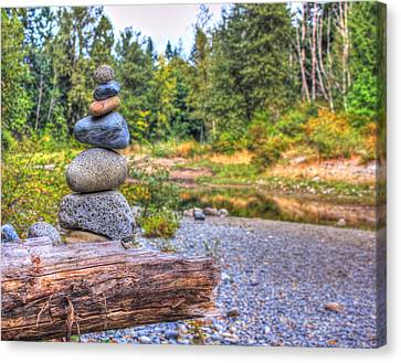Canvas Print featuring the photograph Zen Balanced Stones On A Tree by Eti Reid