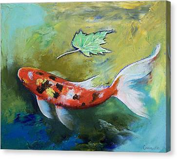 Zen Butterfly Koi Canvas Print by Michael Creese