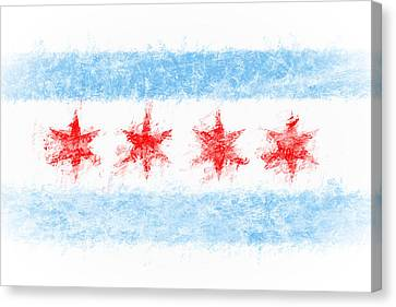 Zen Chicago Flag Canvas Print by Daniel Hagerman