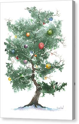 Canvas Print featuring the painting Zen Christmas Tree by Sean Seal