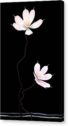 Zen Flower Twins With A Black Background Canvas Print by GuoJun Pan