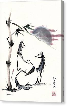 Canvas Print featuring the painting Zen Horses Evolution Of Consciousness by Bill Searle