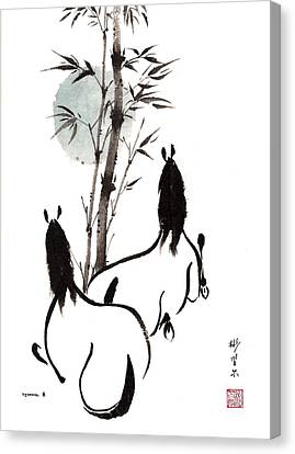 Canvas Print featuring the painting Zen Horses Moon Reverence by Bill Searle