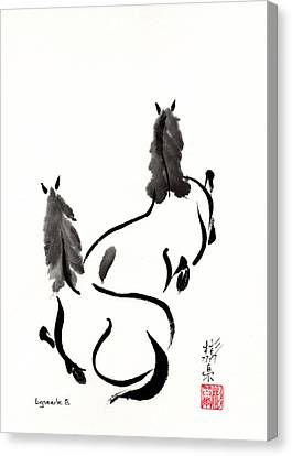 Canvas Print featuring the painting Zen Horses Retired by Bill Searle