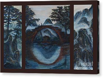 Zen Mountain Lake Tryptych Canvas Print by Angie Bray