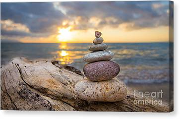 Stacked Canvas Print - Zen Stones by Aged Pixel