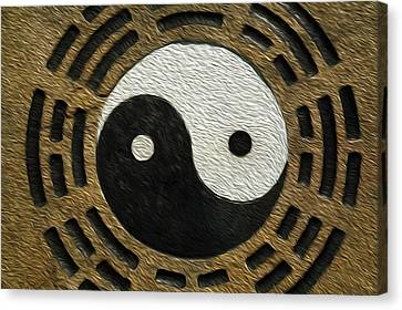 Rake Canvas Print - Zen Stones With Yin And Yang by Lanjee Chee