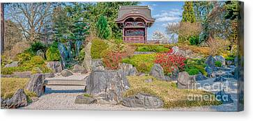 Zen Tranquility - Japanese Garden In Springtime - Panorama Canvas Print by Ian Monk