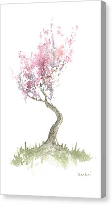 Canvas Print featuring the painting Zen Tree In Spring by Sean Seal