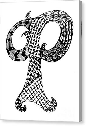 Letter P Monogram In Black And White Canvas Print