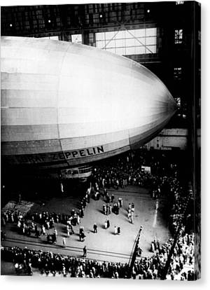 Air Travel Canvas Print - Zeppelin Gets A Crowd by Retro Images Archive