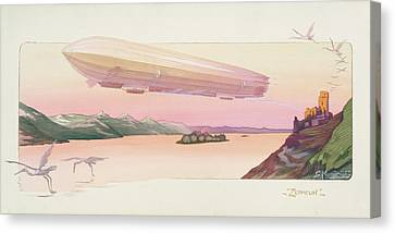 Stork Canvas Print - Zeppelin, Published Paris, 1914 by Ernest Montaut