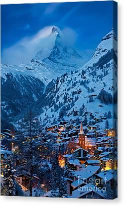 Zermatt - Winter's Night Canvas Print by Brian Jannsen