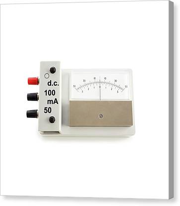 Zero-centre Ammeter Canvas Print by Science Photo Library