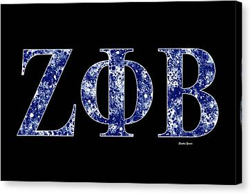 Canvas Print featuring the digital art Zeta Phi Beta - Black by Stephen Younts