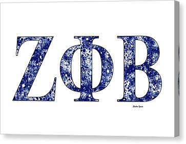 Canvas Print featuring the digital art Zeta Phi Beta - White by Stephen Younts