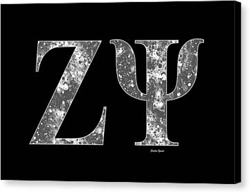 Canvas Print featuring the digital art Zeta Psi - Black by Stephen Younts