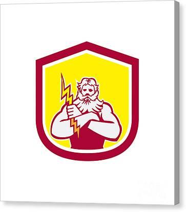 Zeus Greek God Arms Cross Thunderbollt Retro Canvas Print by Aloysius Patrimonio