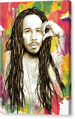 Ziggy Marley - Stylised Drawing Art Poster Canvas Print by Kim Wang