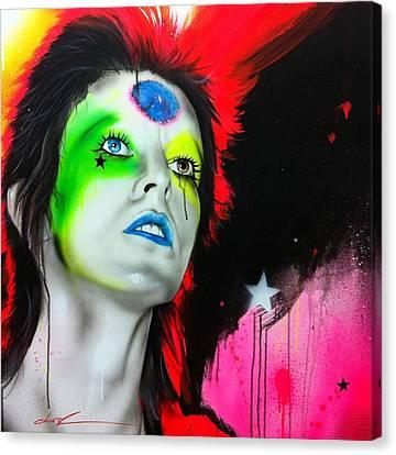 David Bowie - ' Ziggy Played Guitar ' Canvas Print by Christian Chapman Art