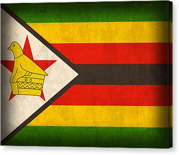 Zimbabwe Flag Distressed Vintage Finish Canvas Print by Design Turnpike