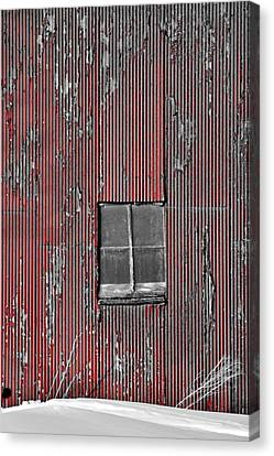 Zink Rd Barn Window Bw Red Canvas Print