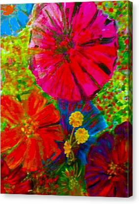 Zinnia Garden Canvas Print by Anne Hamilton