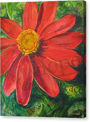 Zinnia Of Hope Canvas Print by Lisa Fiedler Jaworski