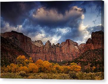 Zion At Autumn Canvas Print by Andrew Soundarajan