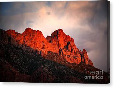 Zion At Sunset Canvas Print by Jane Rix