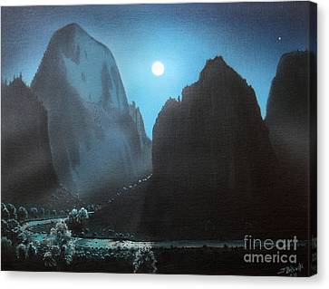 Full Moon  Zion Canvas Print by Jerry Bokowski