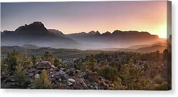 Zion Sunrise Canvas Print by Leland D Howard
