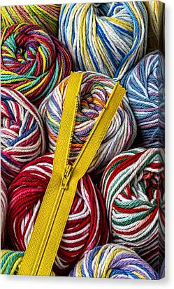 Zipper And Yarn Canvas Print by Garry Gay