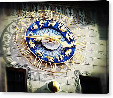 Zodiac Clock In Munich Canvas Print by Zinvolle Art