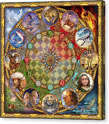 Zodiac Mandala Canvas Print by Ciro Marchetti