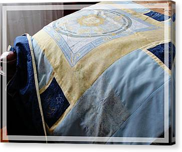 Queen Size Quilts Canvas Print - Zodiac Patchwork Quilt by Barbara Griffin