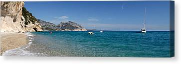 Zodiacs And Sailboat In The Sea, Cala Canvas Print by Panoramic Images