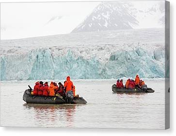 Zodiaks In Svalbard Canvas Print by Ashley Cooper