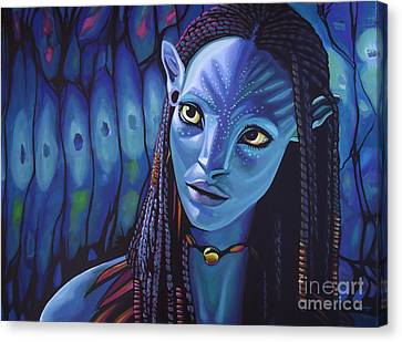 Zoe Saldana As Neytiri In Avatar Canvas Print by Paul Meijering
