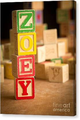 Zoey - Alphabet Blocks Canvas Print by Edward Fielding