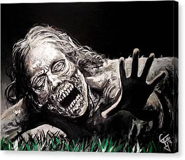 Zombie Bike Girl Canvas Print by Tom Carlton